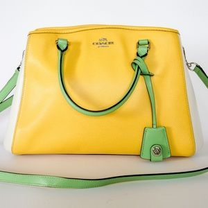 Coach Margot Leather Colorblock Carryall Handbag